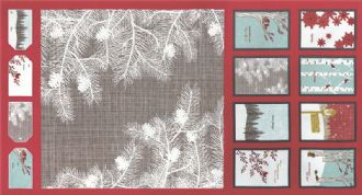 Moda Winters Lane  - 2750 -  Cushion and Bunting Panel on Red Background 13090-12 100% Cotton Fabric